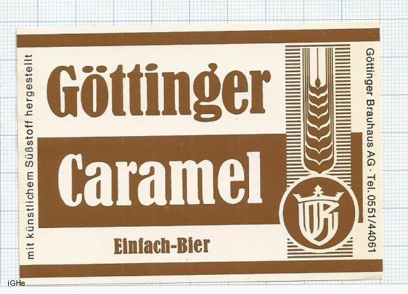 GERMANY - Gottinger Brauhaus Gottingen - CARAMEL - beer label