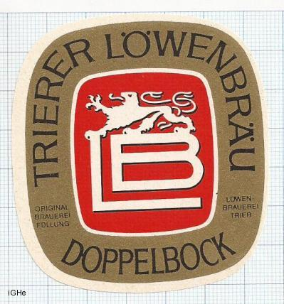 GERMANY - Lowenbrauerei Trier - DOPPELBOCK - beer label