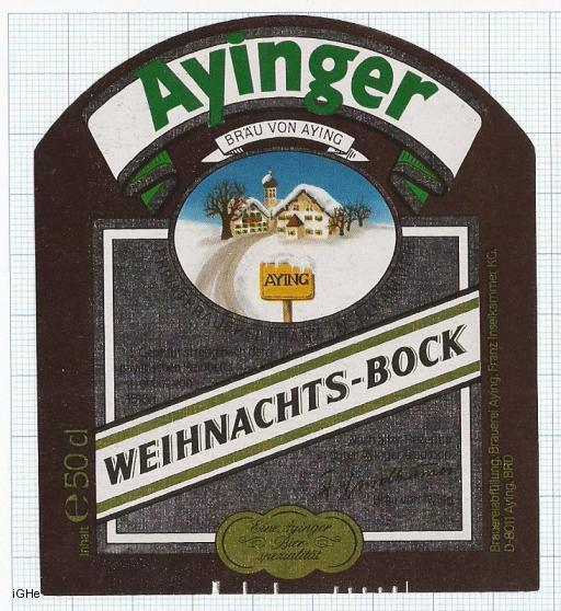 GERMANY - Brauerei Aying Aying - WEIHNACHTS BOCK christmas - beer label