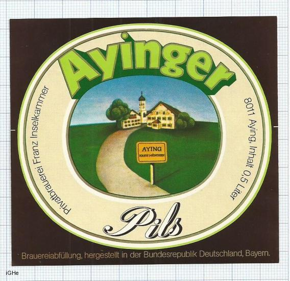 GERMANY - Brauerei Aying Aying - PILS - beer label
