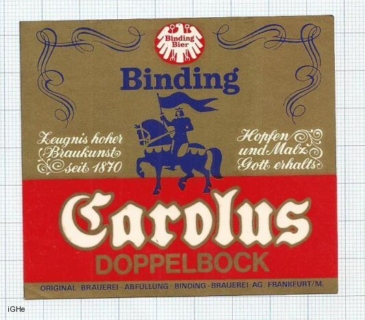 GERMANY - Binding Brau Frankfurt - BINDING CAROLUS DOPPEL BOCK - beer label