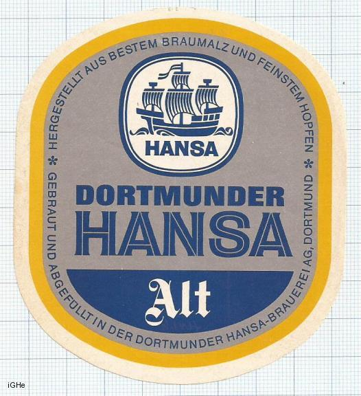 GERMANY - Hansa-Brauerei Dortmund - ALT sailboat - beer label