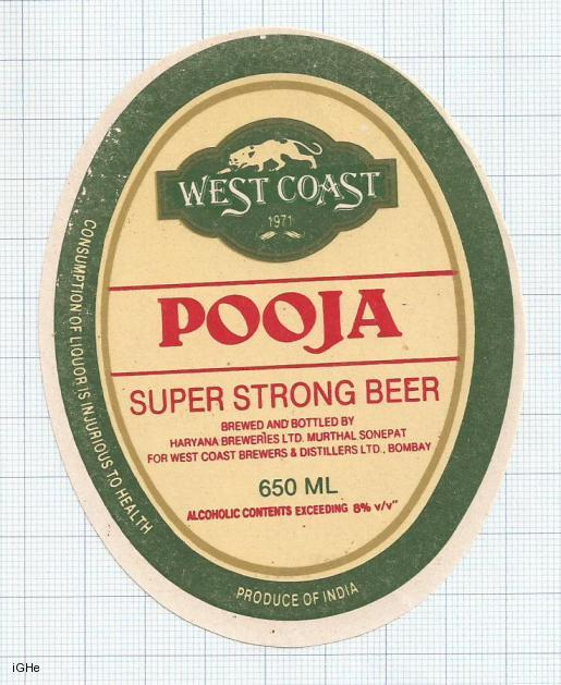 INDIA - Haryana Brew Murthal Sonepat - WEST COAST POOJA - beer label