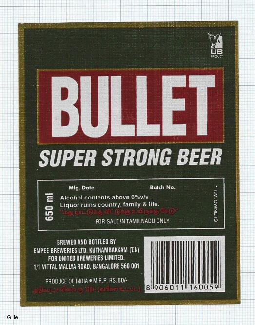 INDIA - United Brew Punjab Brew Empee - BULLET  - beer label