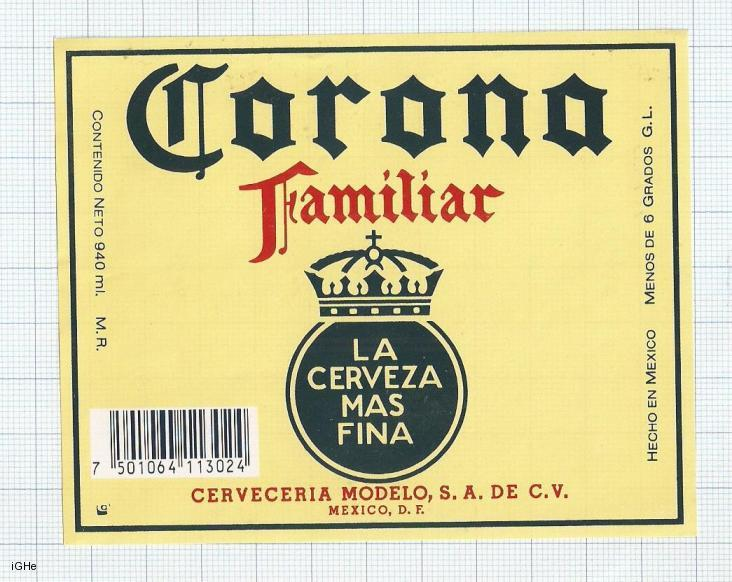 MEXICO - Cerveceria Modelo - Cerveza CORONA Familiar - beer label