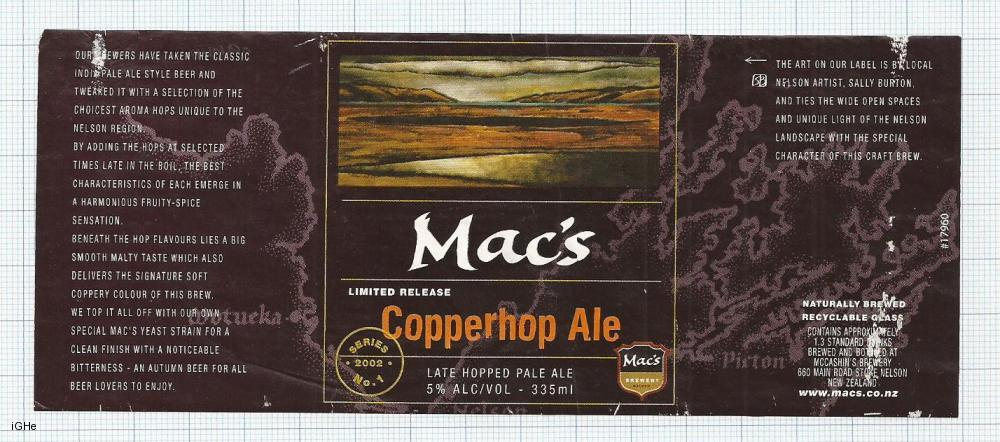 NEW ZEALAND - Micro, McCashin Family Brew Nelson - MAC's COPPERHOP AL beer label