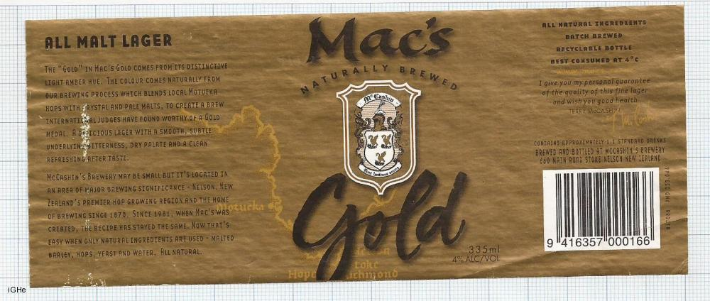 NEW ZEALAND - Micro, McCashin Family Brew Nelson - MAC's GOLD - beer label