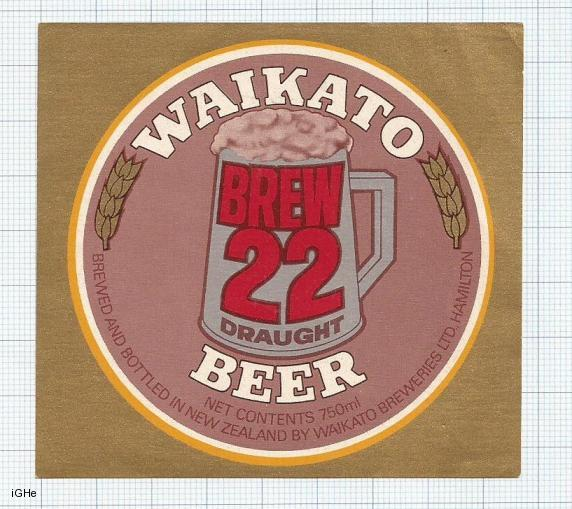 NEW ZEALAND - Waikato Brew Hamilton - 22 DRAUGHT BEER - beer label