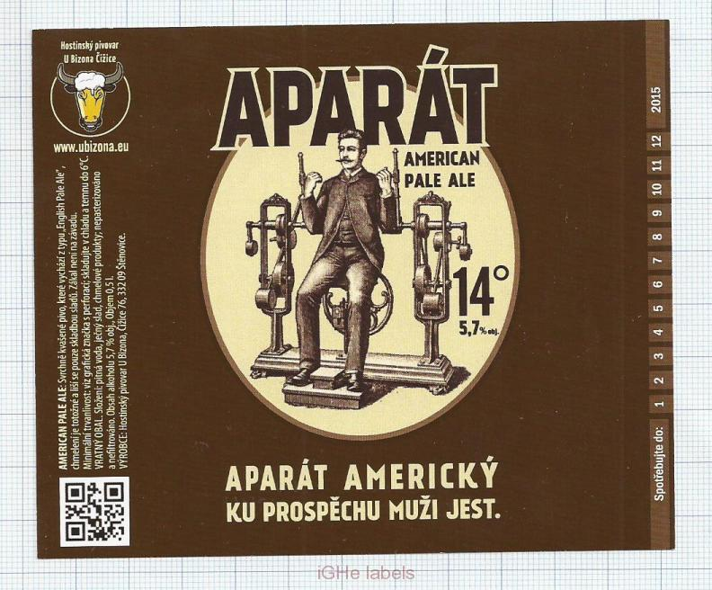CZECH REPUBLIC - Micro, U Bizona Čižice Štěnovice - APARAT AMERICKY - Beer label