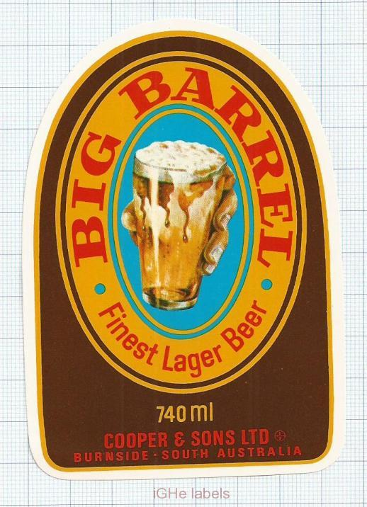 AUSTRALIA - Cooper & Sons Burnside - BIG BARREL Finest Lager Beer - beer label