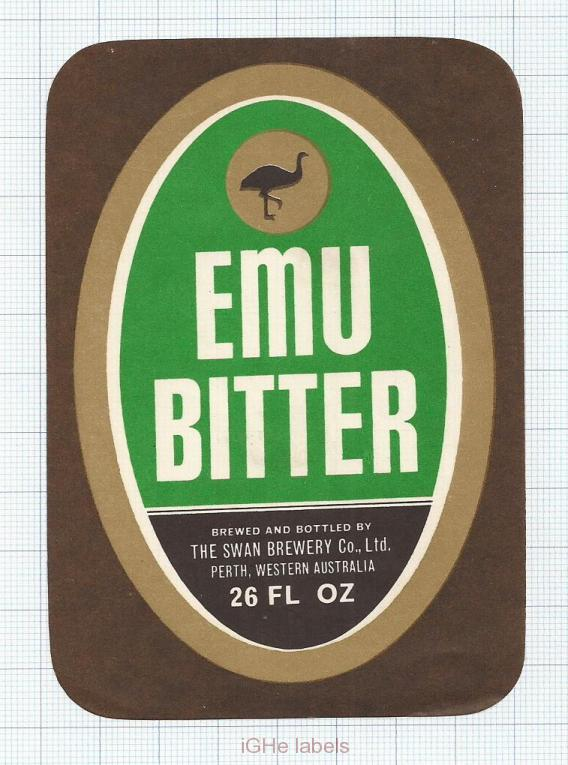 AUSTRALIA - Swan Brew Perth - EMU BITTER - beer label