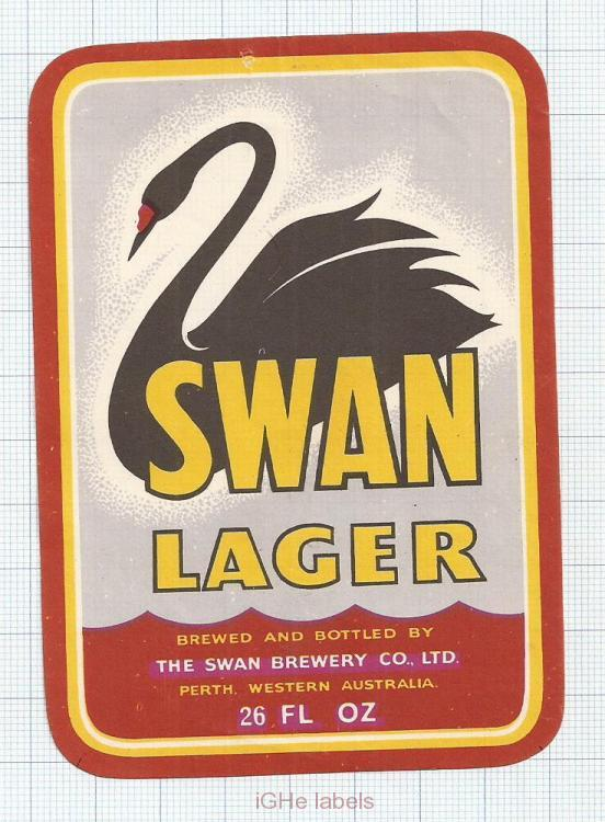 AUSTRALIA - Swan Brew Perth - SWAN LAGER - beer label