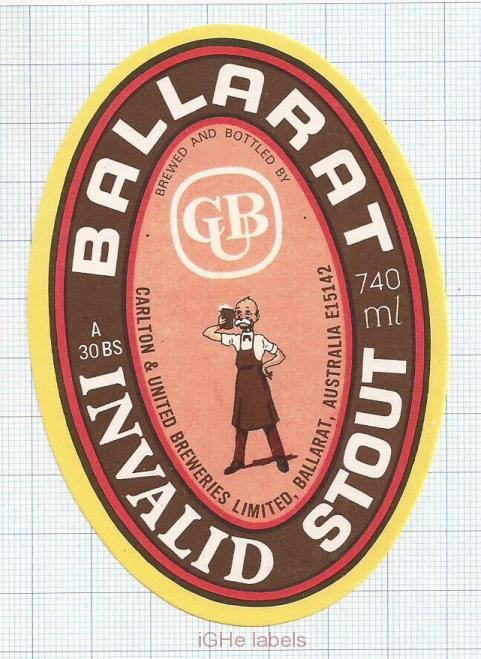 AUSTRALIA - Carlton & United Brew Melbourne -BALLARAT INVALID STOUT - beer label