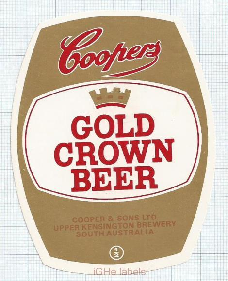 AUSTRALIA - Cooper & Sons Burnside - GOLD CROWN BEER - beer label
