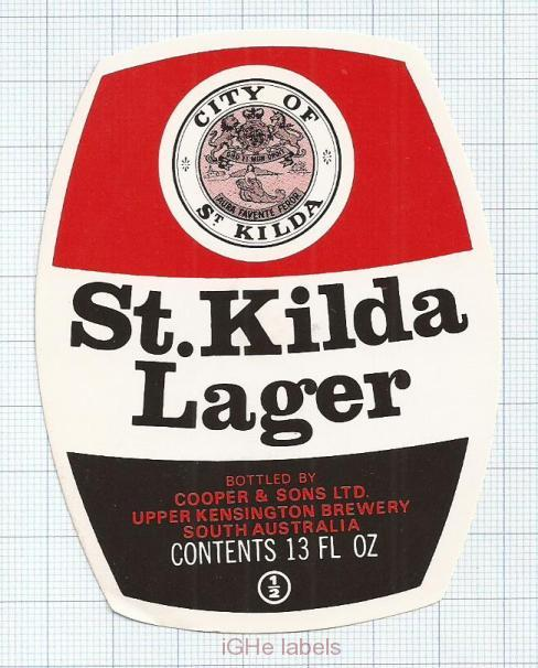 AUSTRALIA - Cooper & Sons Burnside - UPPER Kensington ST.KILDA LAGER- beer label