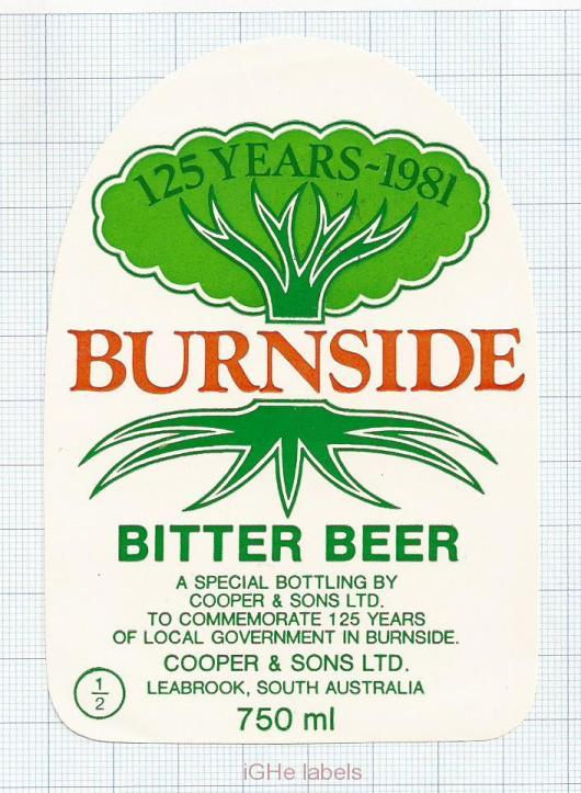 AUSTRALIA - Cooper & Sons Burnside - BURNSIDE BITTER BEER - beer label
