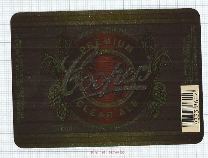 AUSTRALIA - Coopers Brew Leabrook SA - PREMIUM CLEAR ALE - beer label