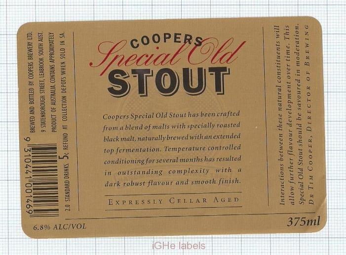 AUSTRALIA - Coopers Brew Leabrook SA - SPECIAL OLD STOUT - beer label