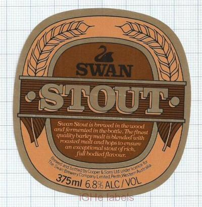 AUSTRALIA - Cooper & Sons Leabrook - SWAN STOUT - beer label