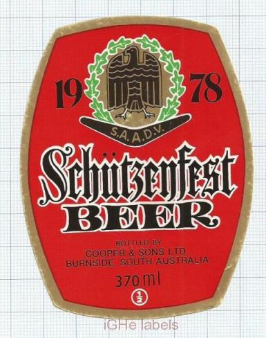 AUSTRALIA - Cooper & Sons Burnside - SCHUTZENFEST - beer label