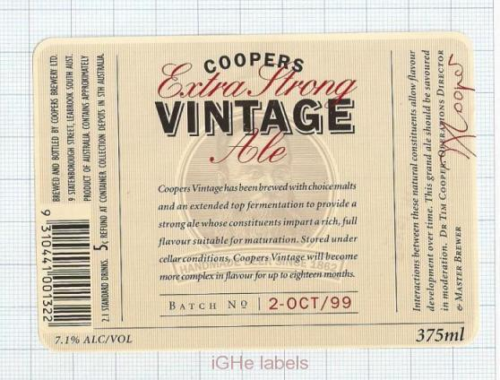 AUSTRALIA - Coopers Brew Leabrook SA - VINTAGE EXTRA STRONG - beer label