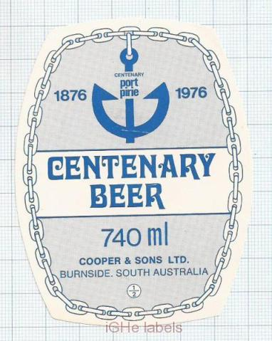 AUSTRALIA - Cooper & Sons Burnside - CENTENARY BEER anchor - beer label