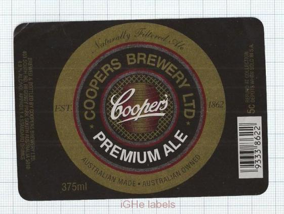 AUSTRALIA - Coopers Brew Regency Park- PREMIUM ALE - beer label