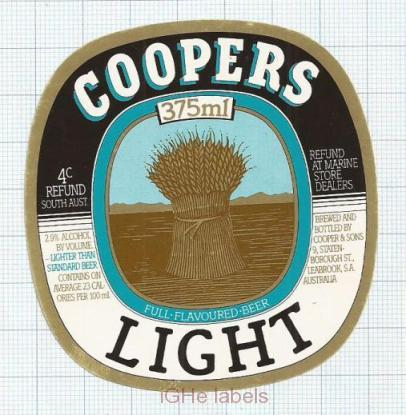 AUSTRALIA - Cooper & Sons Leabrook - LIGHT - beer label
