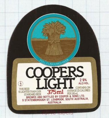 AUSTRALIA - Cooper & Sons Leabrook - COOPERS LIGHT - beer label