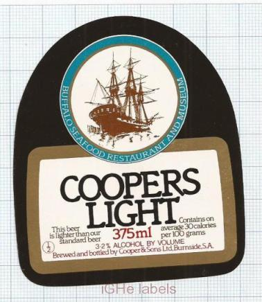 AUSTRALIA - Cooper & Sons Burnside - COOPERS LIGHT sailboat - beer label