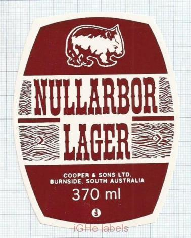 AUSTRALIA - Cooper & Sons Burnside - NULLARBOR Lager - beer label