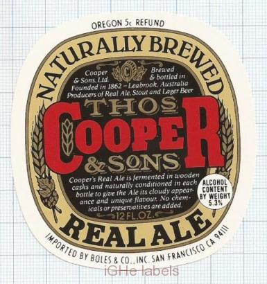 AUSTRALIA - Cooper & Sons Leabrook - REAL ALE - beer label