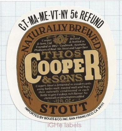 AUSTRALIA - Cooper & Sons Leabrook - REAL ALE STOUT - beer label