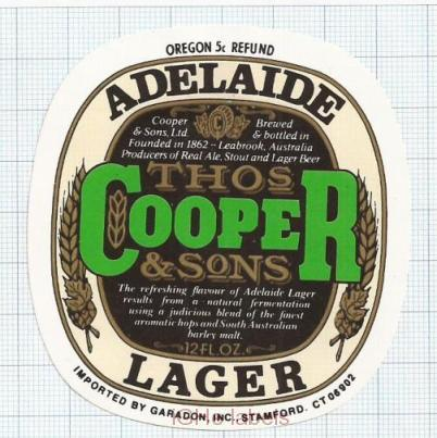 AUSTRALIA - Cooper & Sons Leabrook - LAGER - beer label