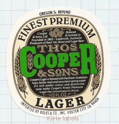 AUSTRALIA - Cooper & Sons Leabrook - FINEST PREMIUM LAGER - beer label