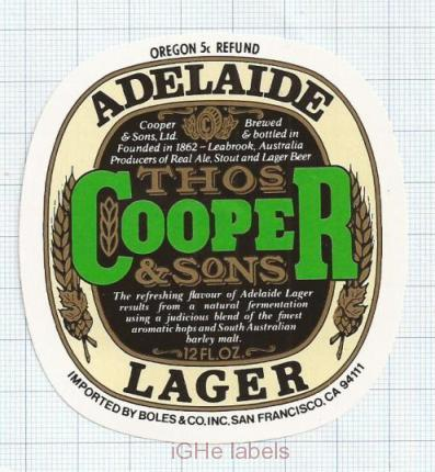 AUSTRALIA - Cooper & Sons Leabrook - ADELAIDE LAGER - beer label