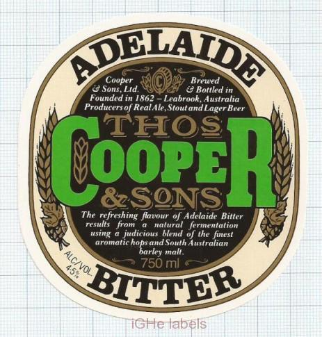 AUSTRALIA - Cooper & Sons Leabrook - ADELAIDE BITTER - beer label