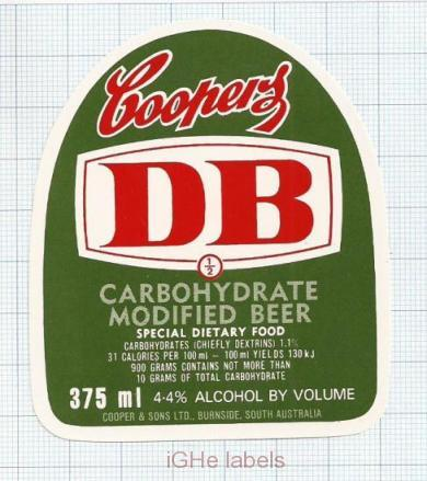 AUSTRALIA - Cooper & Sons Burnside - DB Carbohydrate Modiefied - beer label