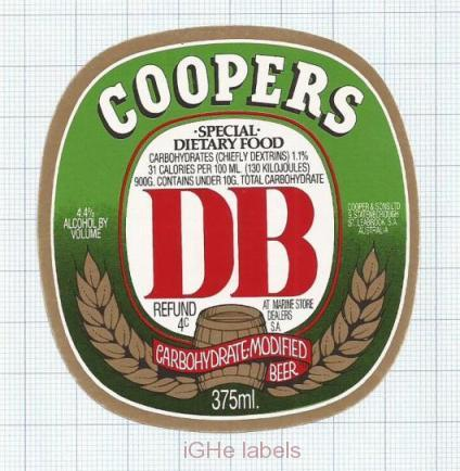 AUSTRALIA - Cooper & Sons Leabrook - DB Carbohydrate Modiefied - beer label