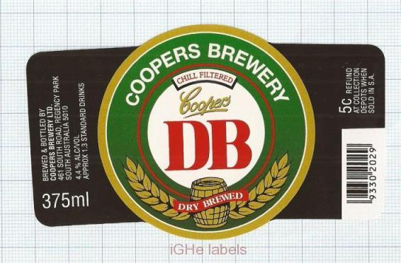 AUSTRALIA - Coopers Brew Regency Park - DB Dry Brewed - beer label