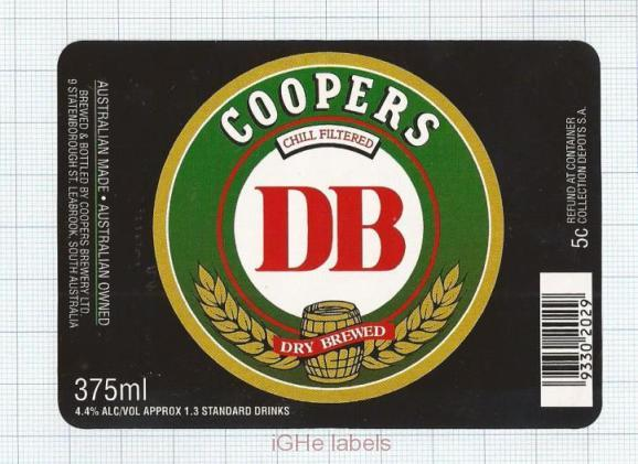 AUSTRALIA - Cooper & Sons Leabrook - DB Dry Brewed - beer label