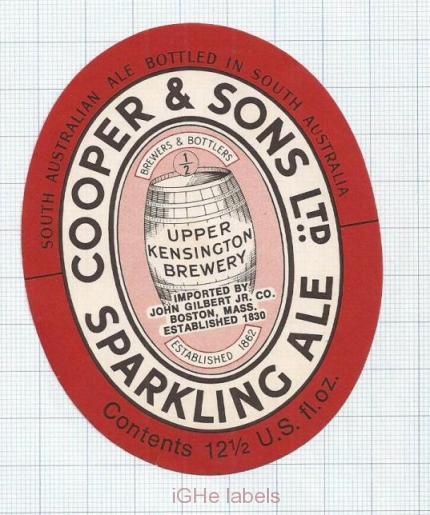 AUSTRALIA - Cooper & Sons Burnside - UPPER Kensington SPARKLING ALE - beer label