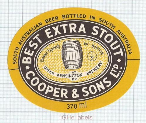 AUSTRALIA - Cooper & Sons Burnside UPPER Kensington BEST EXTRA STOUT beer label
