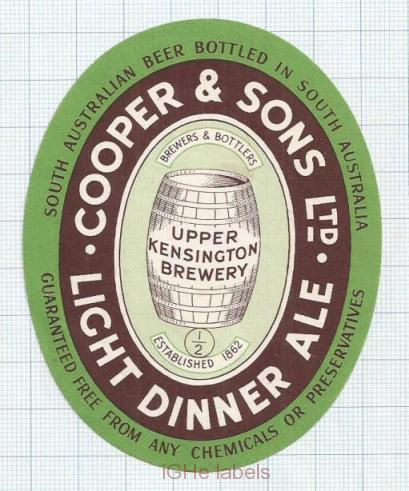 AUSTRALIA - Cooper & Sons Burnside UPPER Kensington LIGHT DINNER ALE  beer label