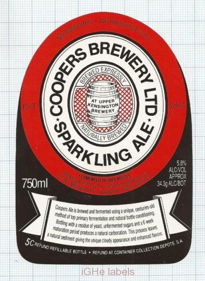 AUSTRALIA - Cooper & Sons Leabrook UPPER Kensington SPARKLING ALE  beer label