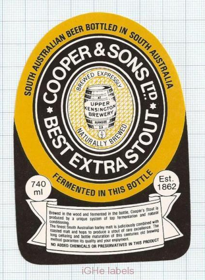 AUSTRALIA - Cooper & Sons Leabrook UPPER Kensington BEST EXTRA STOUT  beer label