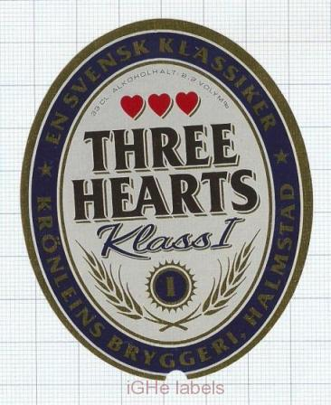 SWEDEN - Krönleins Bryggeri Halmstad - THREE HEARTS KLASS I - beer label
