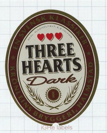 SWEDEN - Krönleins Bryggeri Halmstad - THREE HEARTS DARK - beer label