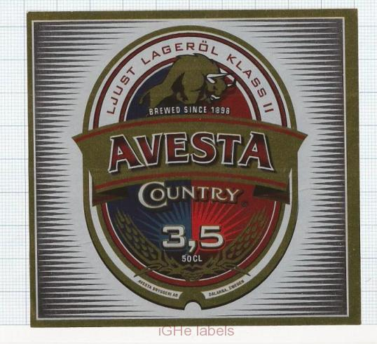 SWEDEN - Micro, Avesta Bryggeri Fors - COUNTRY buffalo - beer label