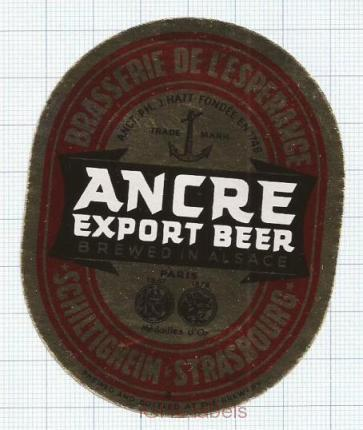 FRANCE - Schiltigheim Strasbourg - ANCRE export beer anchor - beer label